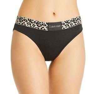 Calvin Klein Black Animal Print Leopard Panties